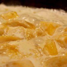 polpette con mango in cottura